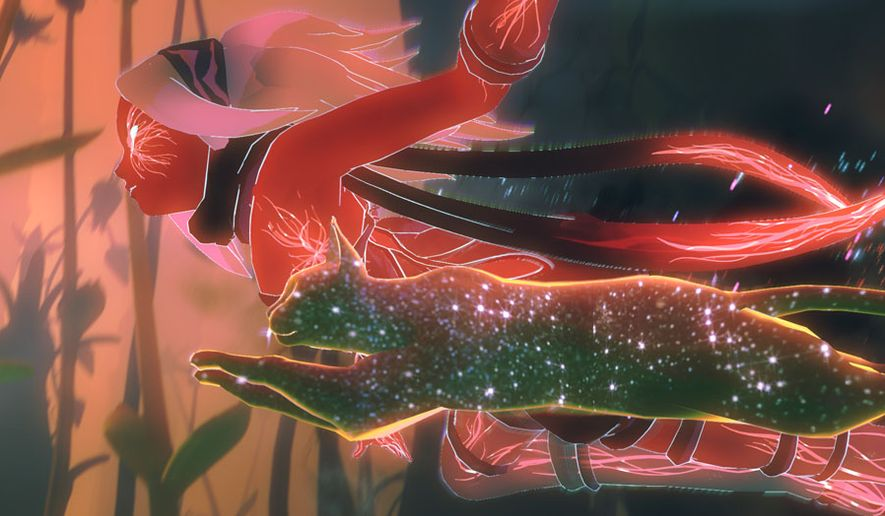 Kat and her devoted feline Dusty star in the video game Gravity Rush 2.