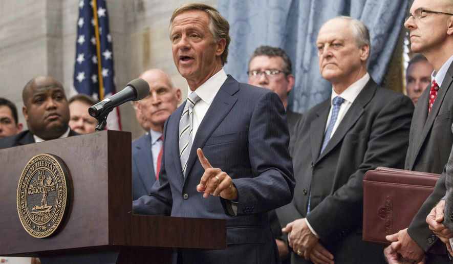 Republican Gov. Bill Haslam speaks at the state Capitol in Nashville, Tenn., on Wednesday, Jan. 18, 2017, about his plan to boost transportation funding while also cutting taxes. Haslam's plan would hike gas taxes by 7 cents per gallon. (AP Photo/Erik Schelzig)