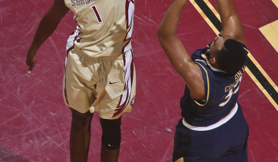 Florida State forward Jonathan Isaac (1) blocks a shot attempt by Notre Dame forward Bonzie Colson (35) in the first half of an NCAA college basketball game on Wednesday, Jan. 18, 2017, in Tallahassee, Fla. (AP Photo/Phil Sears)