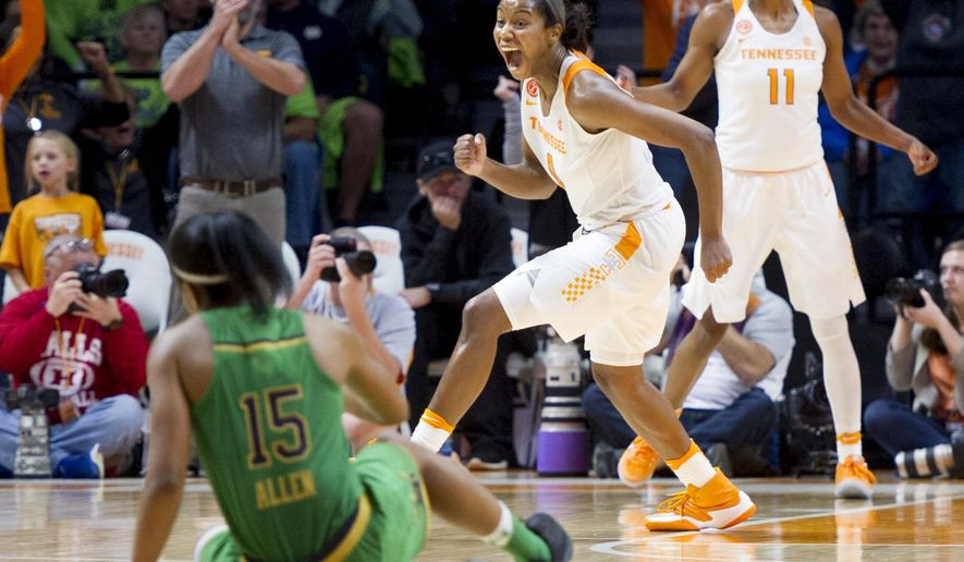 Tennessee's Jordan Reynolds (0) reacts after defeating Notre Dame in an NCAA college basketball game in Knoxville, Tenn., Monday, Jan. 16, 2017. Tennessee won, 71-69. (Calvin Mattheis/Knoxville News Sentinel via AP)