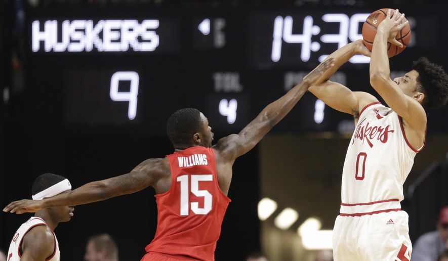 Nebraska's Tai Webster (0) shoots over Ohio State's Kam Williams (15) during the first half of an NCAA college basketball game in Lincoln, Neb., Wednesday, Jan. 18, 2017. (AP Photo/Nati Harnik)
