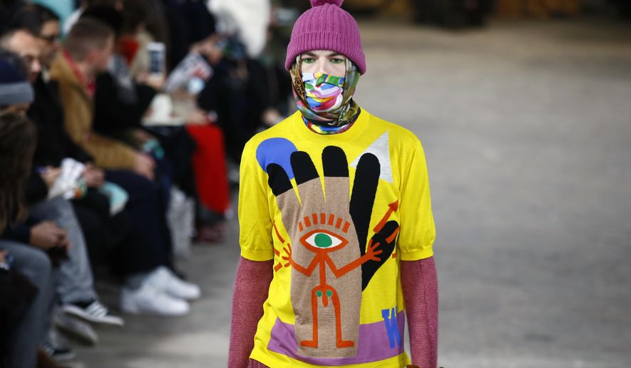 A model wears a creation as part of Walter Van Beirendonck Men's Fall Winter 2017-2018 fashion collection, presented in Paris, Wednesday, Jan. 18, 2017. (AP Photo/Francois Mori)