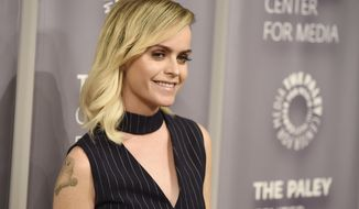 """FILE - In this May 26, 2016, file photo, Taryn Manning, a cast member in the Netflix series """"Orange is the New Black,"""" poses at An Evening with """"Orange is the New Black,"""" at The Paley Center in Beverly Hills, Calif. Manning and Netflix denied a Jan. 18, 2017, In Touch magazine report that the actress had quit the show. (Photo by Chris Pizzello/Invision/AP, File)"""
