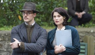 """This image released by the Sundance Institute shows Sam Claflin, left, and Gemma Arterton in a scene from """"Their Finest,"""" an official selection of the Spotlight program at the 2017 Sundance Film Festival. The film reunites filmmaker Lone Scherfig with Claflin, who worked together previously in """"Riot Club."""" (Nicola Dove/Sundance Institute via AP)"""