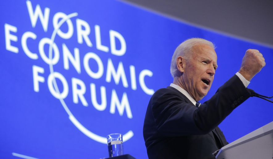 U.S. Vice President Joe Biden delivers a speech on the second day of the annual meeting of the World Economic Forum in Davos, Switzerland, Wednesday, Jan. 18, 2017. (AP Photo/Michel Euler)