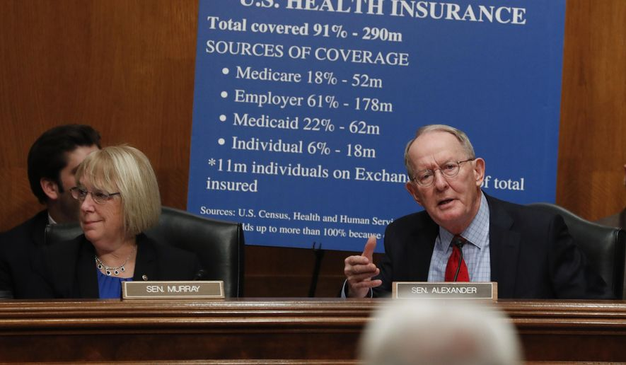 Senate Health, Education, Labor and Pensions Committee Chairman Sen. Lamar Alexander, R-Tenn., with the committee's ranking member Sen. Patty Murray, D-Wash., speaks on Capitol Hill in Washington, Wednesday, Jan. 18, 2017, during the committee's confirmation hearing for Health and Human Services Secretary-designate, Rep. Tom Price, R-Ga., lower right.  (AP Photo/Carolyn Kaster)