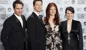 "FILE - In this Jan. 16, 2006 file photo, cast members from the comedy series ""Will & Grace,"" from left, Eric McCormack, Sean Hayes, Debra Messing and Megan Mullally, pose backstage after making an award presentation at the 63rd Annual Golden Globe Awards in Beverly Hills, Calif. ""Will & Grace"" will make a comeback on NBC with 10 new episodes of the hit comedy to air during the 2017-18 season. (AP Photo/Reed Saxon, File)"