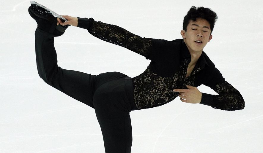 FILE - In this Dec. 8, 2016, file photo, Nathan Chen of the United States, competes in the men's short program at the Grand Prix of Figure Skating final in Marseille, southern France. The 17-year-old's revelatory performance at last month's Grand Prix final in France has made him American figure skating's bright new star. (AP Photo/Christophe Ena, File)