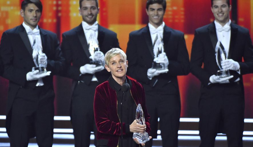 Ellen DeGeneres, winner of the awards for favorite animated movie voice, favorite daytime TV host, and favorite comedic collaboration, speaks on stage at the People's Choice Awards at the Microsoft Theater on Wednesday, Jan. 18, 2017, in Los Angeles. Pictured in the background are DeGeneres' previous People's Choice awards, making her the most decorated People's Choice Award winner in the show's history. (Photo by Vince Bucci/Invision/AP)