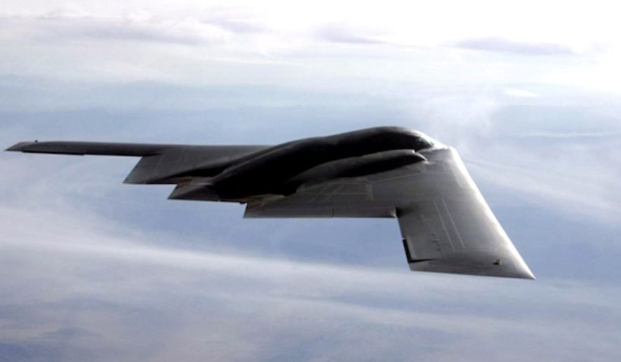 A B-2 Spirit multi-role bomber has a payload of 40,000 pounds and a ceiling of 50,000 feet. (U.S. Air Force)