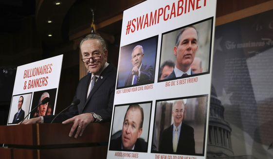 Senate Minority Leader Charles Schumer of N.Y., speaks during a news conference on Capitol Hill in Washington, Thursday, Jan. 19, 2017, about President-elect Donald Trump's Cabinet nominees. Schumer said the Senate will vote on two of Trump's Cabinet nominees on Friday, Jan. 20, 2017, and begin debate on a third. The Senate will vote on Defense Secretary-designate James Mattis and Homeland Security Secretary-designate John Kelly. (AP Photo/Manuel Balce Ceneta)