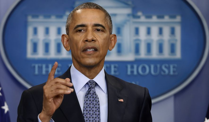 In this photo taken Jan. 18, 2017, President Barack Obama speaks during his final presidential news conference, in the briefing room of the White House in Washington. In his last major act as president, Barack Obama cut short the sentences of 330 federal inmates convicted of drug crimes on Thursday, Jan. 19, 2017, bringing his bid to correct what hes called a systematic injustice to a climactic close. (AP Photo/Pablo Martinez Monsivais) **FILE**