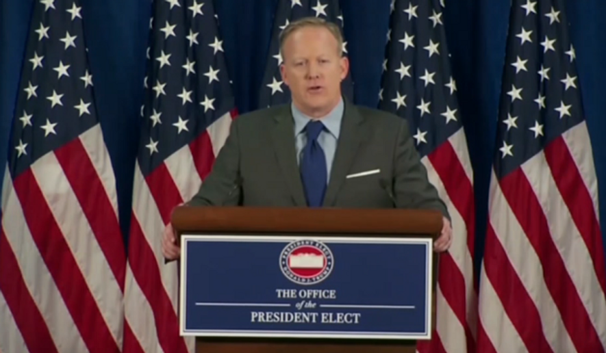 Sean Spicer, President-elect Donald Trump's choice for White House press secretary, at a Jan. 19 briefing with the press. (Screen capture from video via Politico)