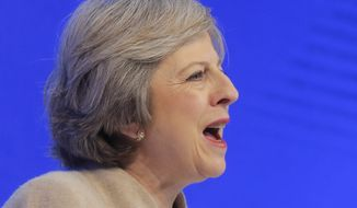 British Prime Minister Theresa May speaks on the third day of the annual meeting of the World Economic Forum in Davos, Switzerland, Thursday, Jan. 19, 2017. (AP Photo/Michel Euler)