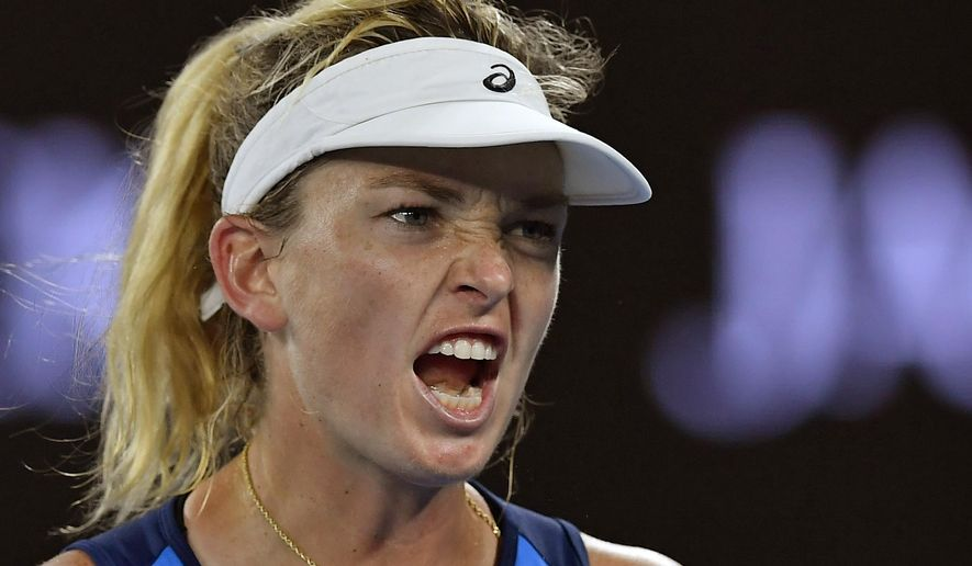 United States' Coco Vandeweghe yells in frustration while playing Canada's Eugenie Bouchard during their third round match at the Australian Open tennis championships in Melbourne, Australia, Friday, Jan. 20, 2017. (AP Photo/Andy Brownbill)
