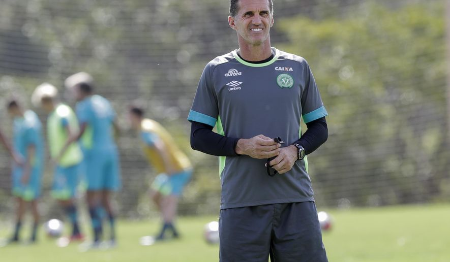 Vagner Mancini, the new coach of Chapecoense soccer team attends a training session in Chapeco, Brazil, Wednesday, Jan. 18, 2017. Three Chapecoense players survived and 19 players perished in an air crash that killed 71 people almost two months ago in Colombia. (AP Photo/Andre Penner)