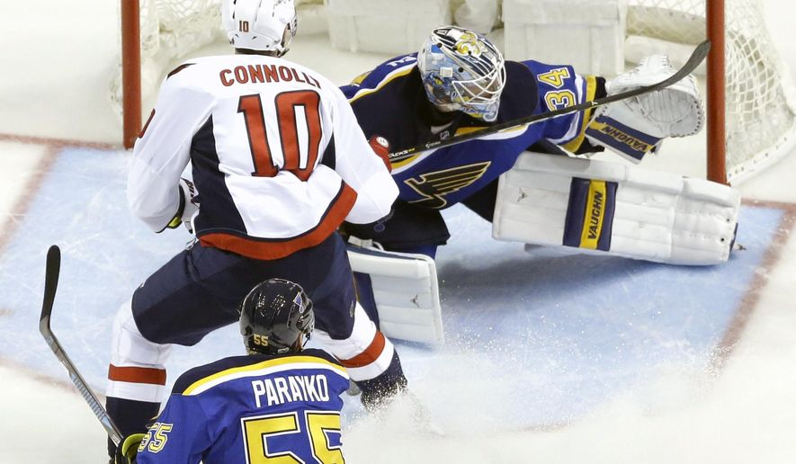 Washington Capitals' Brett Connolly scores past St. Louis Blues goalie Jake Allen (34) as Blues' Colton Parayko (55) watches during the second period of an NHL hockey game Thursday, Jan. 19, 2017, in St. Louis. (AP Photo/Jeff Roberson)