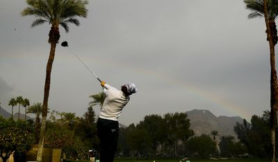 Ryo Ishikawa watches his tee shot on the on the fifth hole during the first round of the CareerBuilder Challenge at the La Quinta County Club Thursday, Jan. 19, 2017 in La Quinta, Calif. (AP Photo/Chris Carlson)