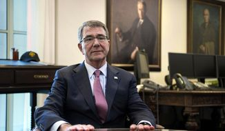 Then-Secretary of Defense Ashton Carter is interviewed in his Pentagon office, Wednesday, Jan. 18, 2017. (AP Photo/Cliff Owen) ** FILE **