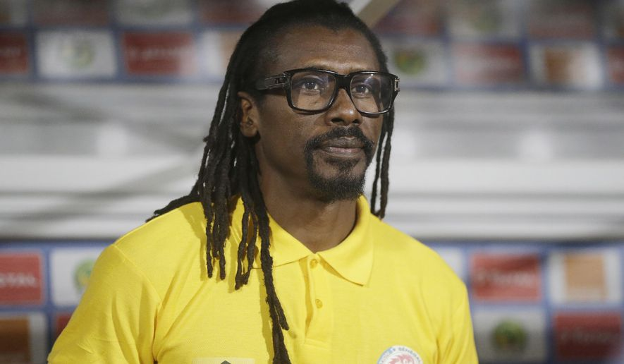 Senegal Soccer Coach, Aliou Cisse, is pictured before their African Cup of Nations Group B soccer match between Senegal and Zimbabwe at, Stade de Franceville Stadium, in Franceville, Gabon, Thursday Jan. 19, 2017. (AP Photo/Sunday Alamba)