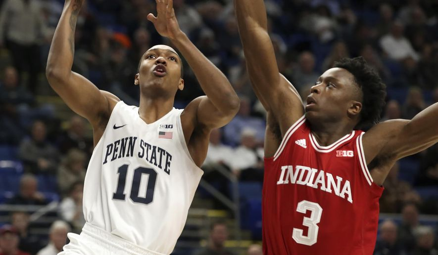 Penn State's Tony carr (10) goes to the basket as Indiana's Og Anunoby (3) defends during the first half of an NCAA college basketball game in State College, Pa., Wednesday, Jan. 18, 2017. (AP Photo/Chris Knight)