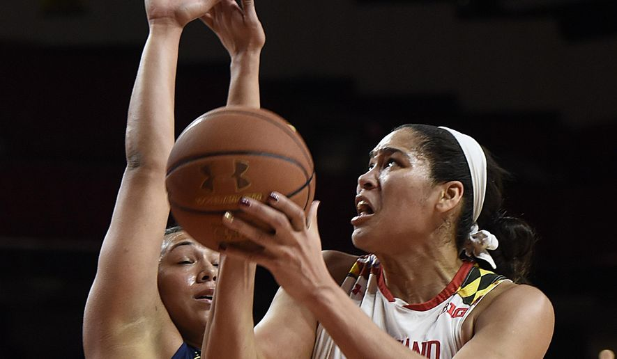 Maryland's Brionna Jones, right, shoots as Michigan's Jillian Dunston defends during the first half of an NCAA college basketball game, Thursday, Jan. 19, 2017, in College Park, Md.(AP Photo/Gail Burton)
