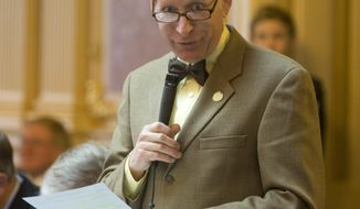 Del. Steven Landes, R-Augusta, delivers a speech on the Republican health care initiatives during the House session at the Capitol in Richmond, Va., Thursday, Jan. 19, 2017. (AP Photo/Steve Helber)