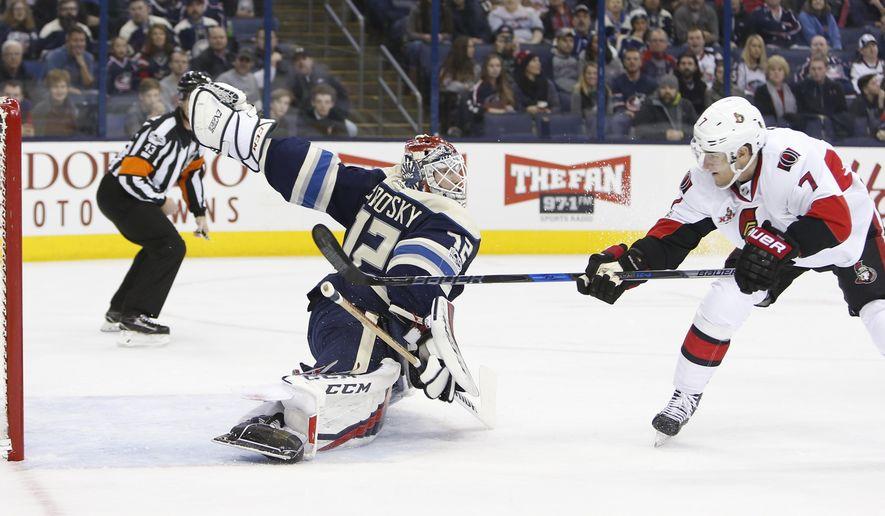 Ottawa Senators' Kyle Turris, right, scores against Columbus Blue Jackets' Sergei Bobrovsky, of Russia, during the first period of an NHL hockey game Thursday, Jan. 19, 2017, in Columbus, Ohio. (AP Photo/Jay LaPrete)