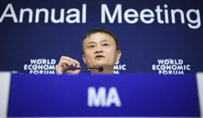 China's Jack Ma, Founder and Executive Chairman of Alibaba Group speaks during a press conference at the 47th annual meeting of the World Economic Forum, WEF, in Davos, Switzerland, Thursday, Jan. 19, 2017.  (Laurent Gillieron/Keystone via AP)