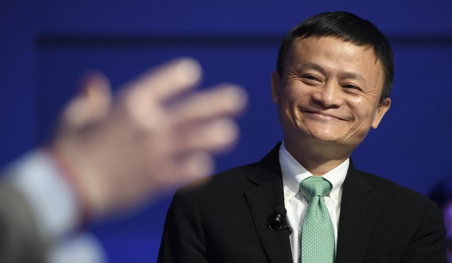 China's Jack Ma, Alibaba Group founder and executive chairman, speaks during a panel session during the 47th annual meeting of the World Economic Forum, WEF, in Davos, Switzerland, Wednesday, Jan. 18, 2017. (Laurent Gillieron/Keystone via AP) ** FILE **