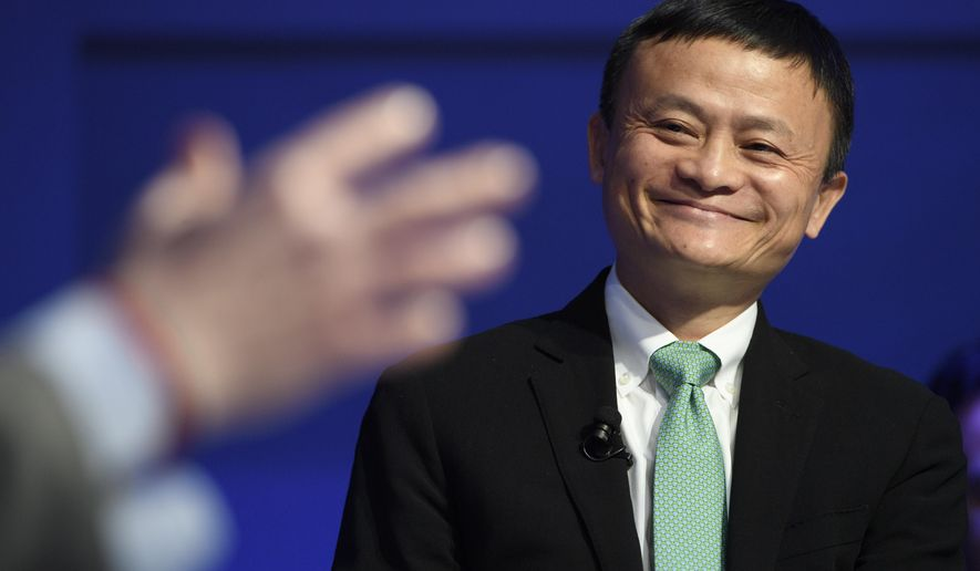 China's Jack Ma, Founder and Executive Chairman of Alibaba Group speaks during a panel session during the 47th annual meeting of the World Economic Forum, WEF, in Davos, Switzerland, Wednesday, Jan. 18, 2017. (Laurent Gillieron/Keystone via AP)