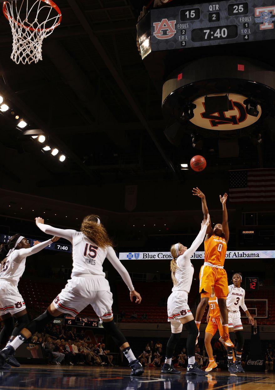 Tennessee's Jordan Reynolds shoots Auburn's Katie Frerking during the first half of an NCAA college basketball game Thursday, Jan. 19, 2017, in Auburn, Ala. (Todd J. Van Emst/Opelika-Auburn News via AP)