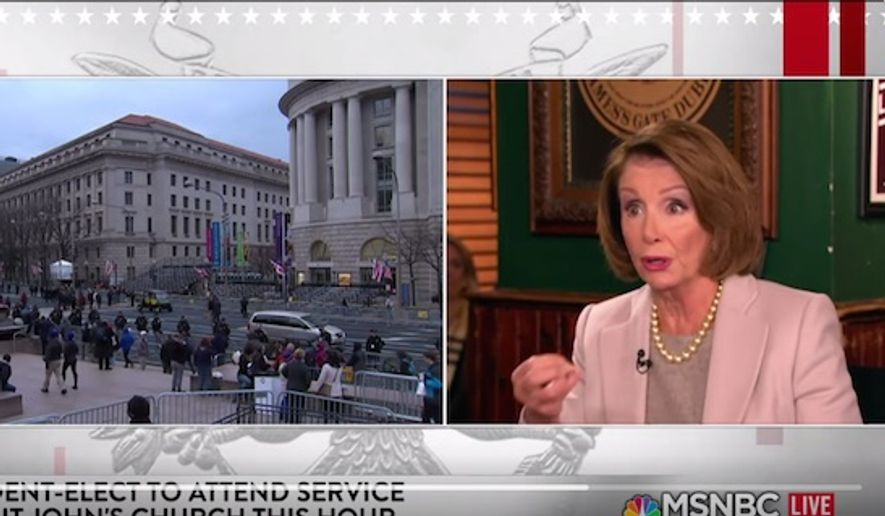 "Then-House Minority Leader Nancy Pelosi told the hosts of MSNBC's ""Morning Joe"" on Friday, Jan. 20, 2017, that Democrats do ""the Lord's work"" while Republicans ""dishonor the God who made them."" (Twitter, Morning Joe) ** FILE **"