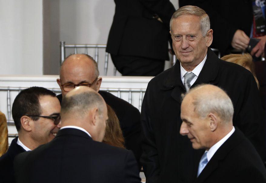 Defense Secretary-designate James Mattis, top right, looks out during the 58th Presidential Inauguration parade for President Donald Trump in Washington. Friday, Jan. 20, 2017 (AP Photo/Pablo Martinez Monsivais)
