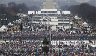 Crowds fill in along the National Mall before the swearing in of Donald Trump as the 45th president of the Untied States during the 58th Presidential Inauguration at the U.S. Capitol in Washington. Friday, Jan. 20, 2017. (AP Photo/Patrick Semansky)