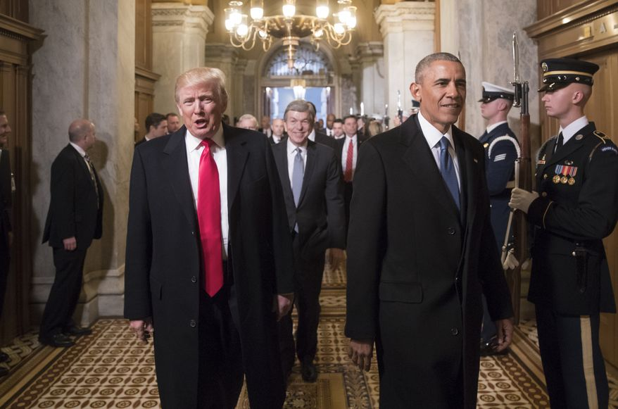 President-elect Donald Trump and President Barack Obama arrive for Trump's inauguration ceremony at the Capitol in Washington, Friday, Jan. 20, 2017. (AP Photo/J. Scott Applewhite, Pool)