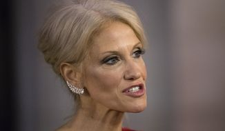 President-elect Donald Trump's adviser Kellyanne Conway speaks with members of the media as she arrives for a dinner at Union Station ahead of Friday's presidential inauguration, in Washington, Thursday, Jan. 19, 2017. (AP Photo/Matt Rourke) ** FILE **