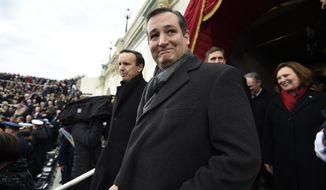 Sen. Ted Cruz, R-Texas arrives on Capitol Hill in Washington, Friday, Jan. 20, 2017, for the presidential inauguration of Donald Trump. (Saul Loeb/Pool Photo via AP)