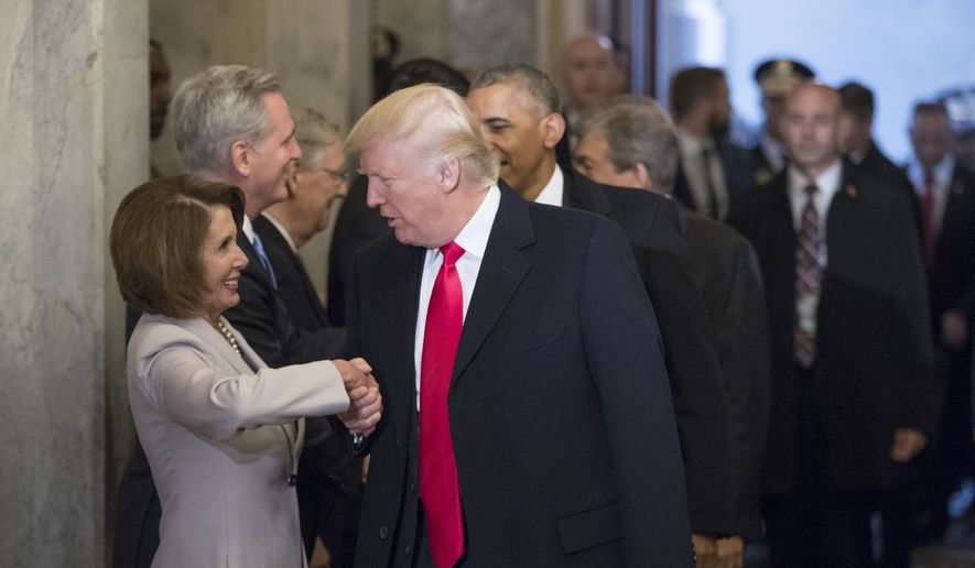 President-elect Donald Trump greets House Minority Leader Nancy Pelosi of Calif., and other Congressional leaders as he arrives for his inauguration ceremony on Capitol Hill in Washington, Friday, Jan. 20, 2017. (AP Photo/J. Scott Applewhite, Pool) ** FILE **