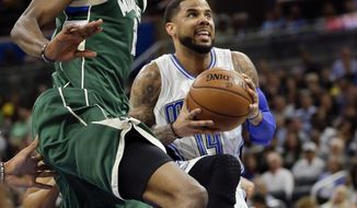 Orlando Magic's D.J. Augustin, right, goes up for a shot against Milwaukee Bucks' Tony Snell, left, during the first half of an NBA basketball game, Friday, Jan. 20, 2017, in Orlando, Fla. (AP Photo/John Raoux)