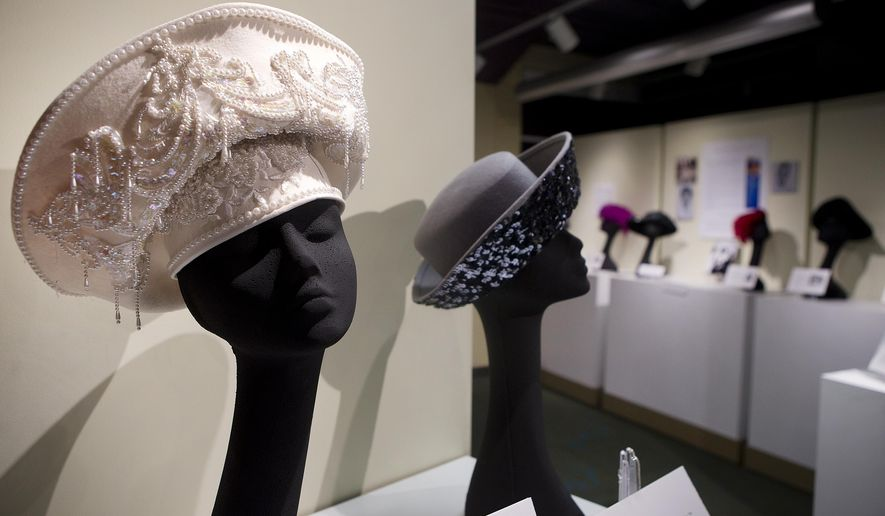 ADVANCE FOR SUNDAY JAN 22 AND THEREAFTER - A Jan. 10, 2017 photo shows the Majesty hat, which was purchased in 2000 or 2001. Extraordinary Crowns is on display at the Harrison Museum of African American Culture in Roanoke, featuring hats worn by Pulaski resident Irma Jean Young-Smith. (Erica Yoon/The Roanoke Times via AP) (Erica Yoon/The Roanoke Times via AP)