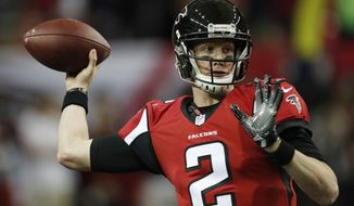 FILE -  In this Saturday, Jan. 14, 2017 file photo, Atlanta Falcons quarterback Matt Ryan (2) warms up before the first half of an NFL football NFC divisional playoff game between the Atlanta Falcons and the Seattle Seahawks in Atlanta. The Green Bay Packers play the Atlanta Falcons in the NFC championship game, Sunday, Jan. 22, 2017. (AP Photo/John Bazemore)