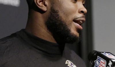 FILE - In this Dec. 13, 2016, file photo, Baltimore Ravens linebacker Zachary Orr speaks to the media following an NFL football game against the New England Patriots, in Foxborough, Mass. Orr announced his retirement, Friday, Jan. 20, 2017, after learning he has a congenital spinal condition. (AP Photo/Steven Senne, File)