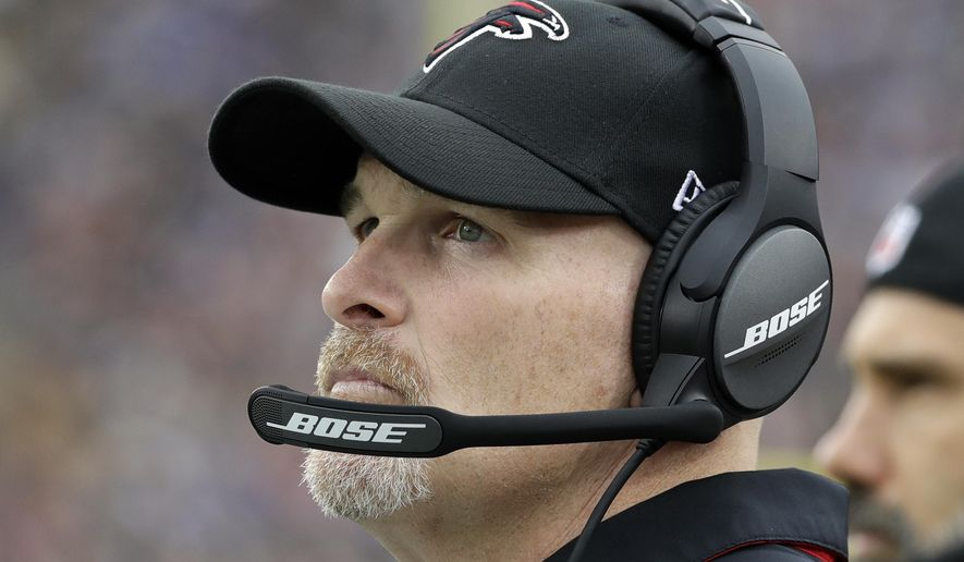 FILE - In this Sunday, Dec. 11, 2016 file photo, Atlanta Falcons head coach Dan Quinn watches during the first half of an NFL football game against the Los Angeles Rams in Los Angeles. If you're wondering what the Falcons are doing in the NFL's version of the Final Four with the Patriots, Steelers and Packers, you aren't alone. (AP Photo/Rick Scuteri)