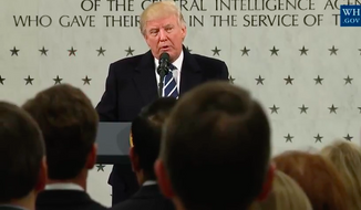 Screen capture from a livestream of President Trump's Jan. 21, 2017 remarks at CIA headquarters in Langley, Va. (YouTube)