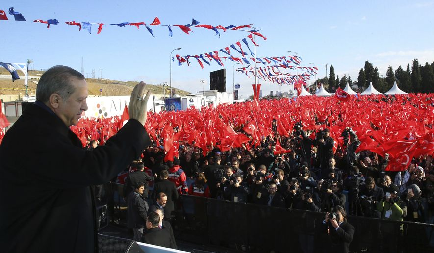 Turkey's President Recep Tayyip Erdogan addresses his supporters in Istanbul, Saturday, Jan. 21, 2017. Erdogan started campaigning for constitutional reforms that would greatly expand the powers of his office on Saturday, hours after a vote in parliament cleared the way for a national referendum on the issue. (Kayhan Ozer/Presidential Press Service, Pool Photo via AP