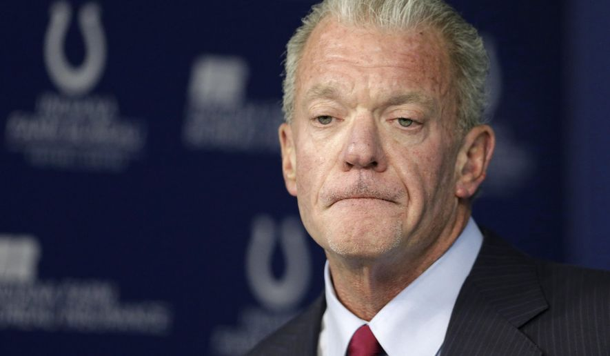 Indianapolis Colts owner and CEO Jim Irsay announces that he has relieved general manager Ryan Grigson of his duties with the team during a press conference at the NFL team's facility in Indianapolis, Saturday, Jan. 21, 2017. (AP Photo/Michael Conroy)