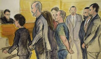 "In this courtroom drawing, Joaquin ""El Chapo"" Guzman, center, appears in a New York courtroom on Friday, Jan. 20, 2017, after being extradited by Mexico to face federal drug trafficking and other charges. Guzman entered a not-guilty plea through his court-appointed lawyer and will be held without bail in a jail that has handled terror suspects and mobsters. From left are, Federal Judge James Orenstein; Assistant US Attorney Patricia Notopoulos; Federal Defender Michael Schneider, Federal Defender Michelle Gelernt, partially obscured; and the defendant. The three men at rear are Deputy U.S. Marshals. (Elizabeth Williams via AP)"