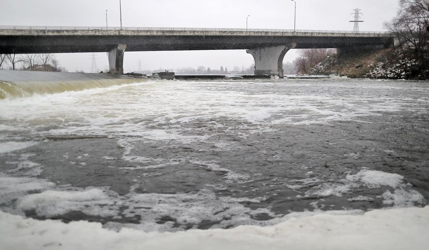 The water below the Monterey Dam, along the Rock River in Janesville on Tuesday, Jan. 10, 2017 .The Monterey Dam Citizen Advisory Committee will soon recommend to the the Janesville City Council a solution to address the dam. The Department of Natural Resources has ordered the city to repair or remove the dam. (Anthony Wahl /The Janesville Gazette via AP)