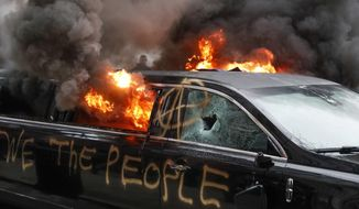 A parked limousine burns during a demonstration after the inauguration of President Donald Trump, Friday, Jan. 20, 2017, in Washington. Protesters registered their rage against the new president Friday in a chaotic confrontation with police who used pepper spray and stun grenades in a melee just blocks from Donald Trump's inaugural parade route. Scores were arrested for trashing property and attacking officers.  (AP Photo/John Minchillo) ** FILE **